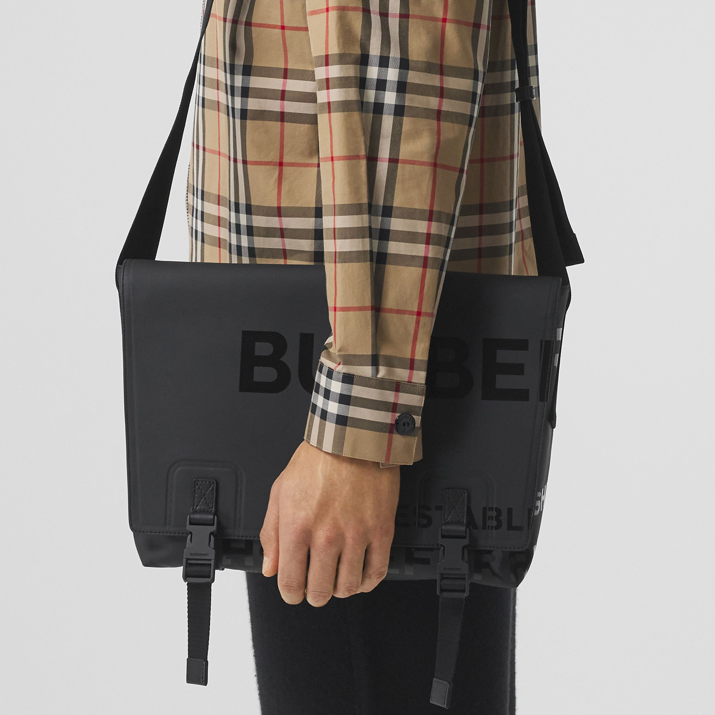 Horseferry Print Coated Canvas Messenger Bag in Black - Men | Burberry - 2