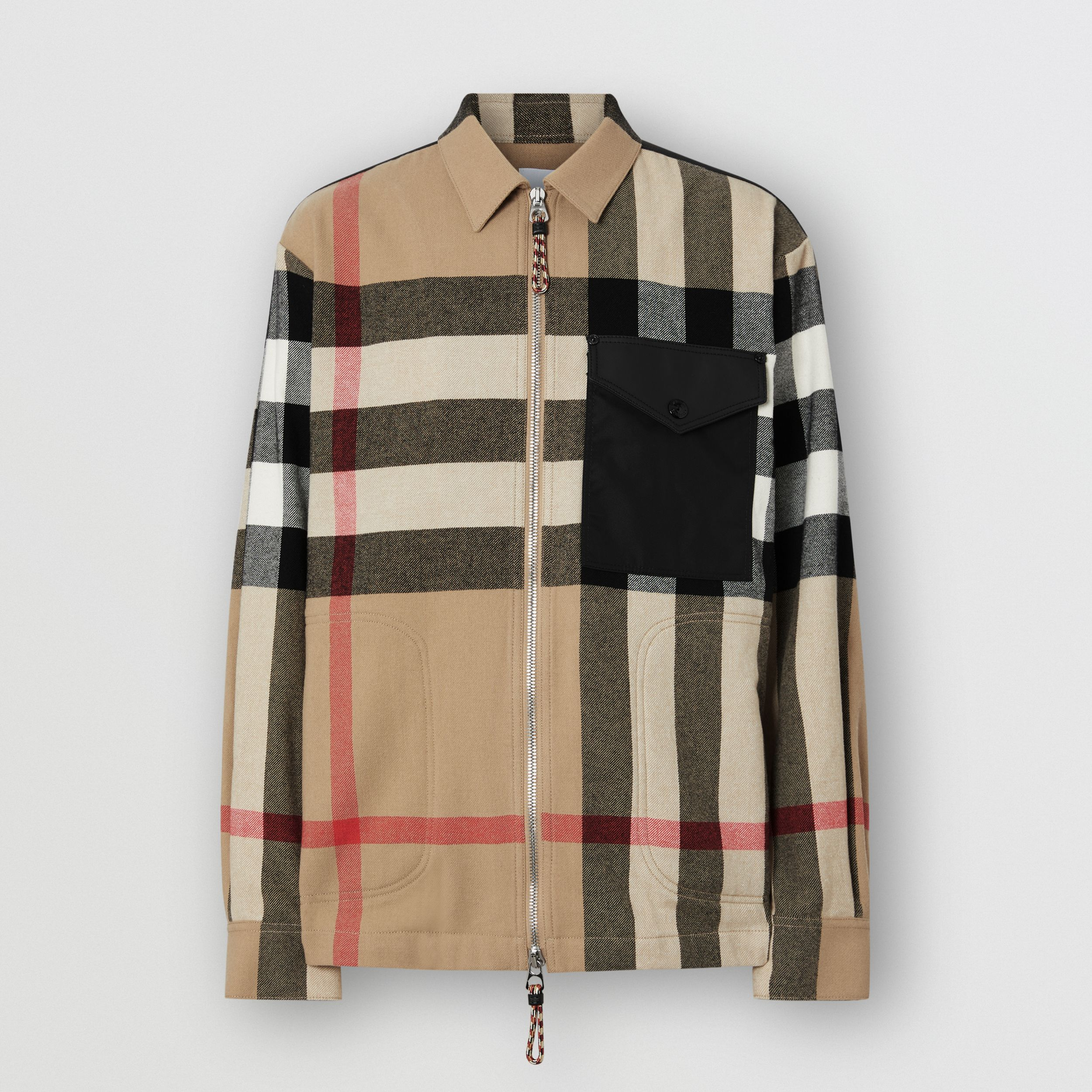 Contrast Panel Check Wool Cotton Shirt in Archive Beige - Men | Burberry - 4