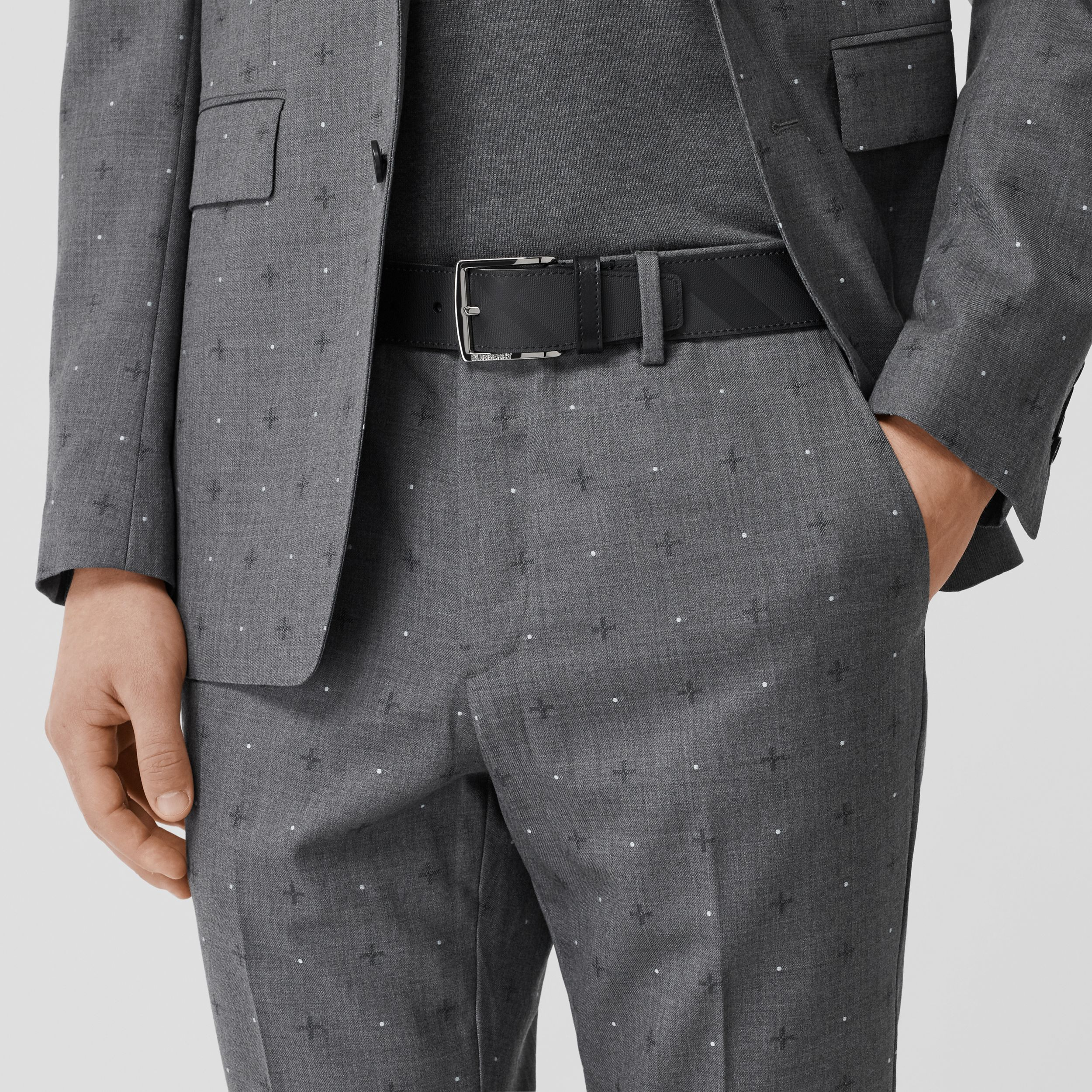 London Check and Leather Belt in Dark Charcoal/black - Men | Burberry - 3