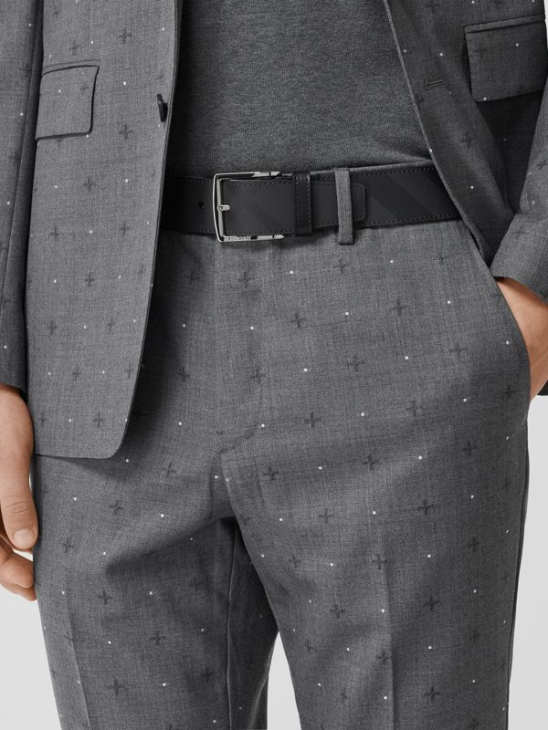 London Check and Leather Belt in Dark Charcoal/black - Men | Burberry Hong Kong - cell image 2