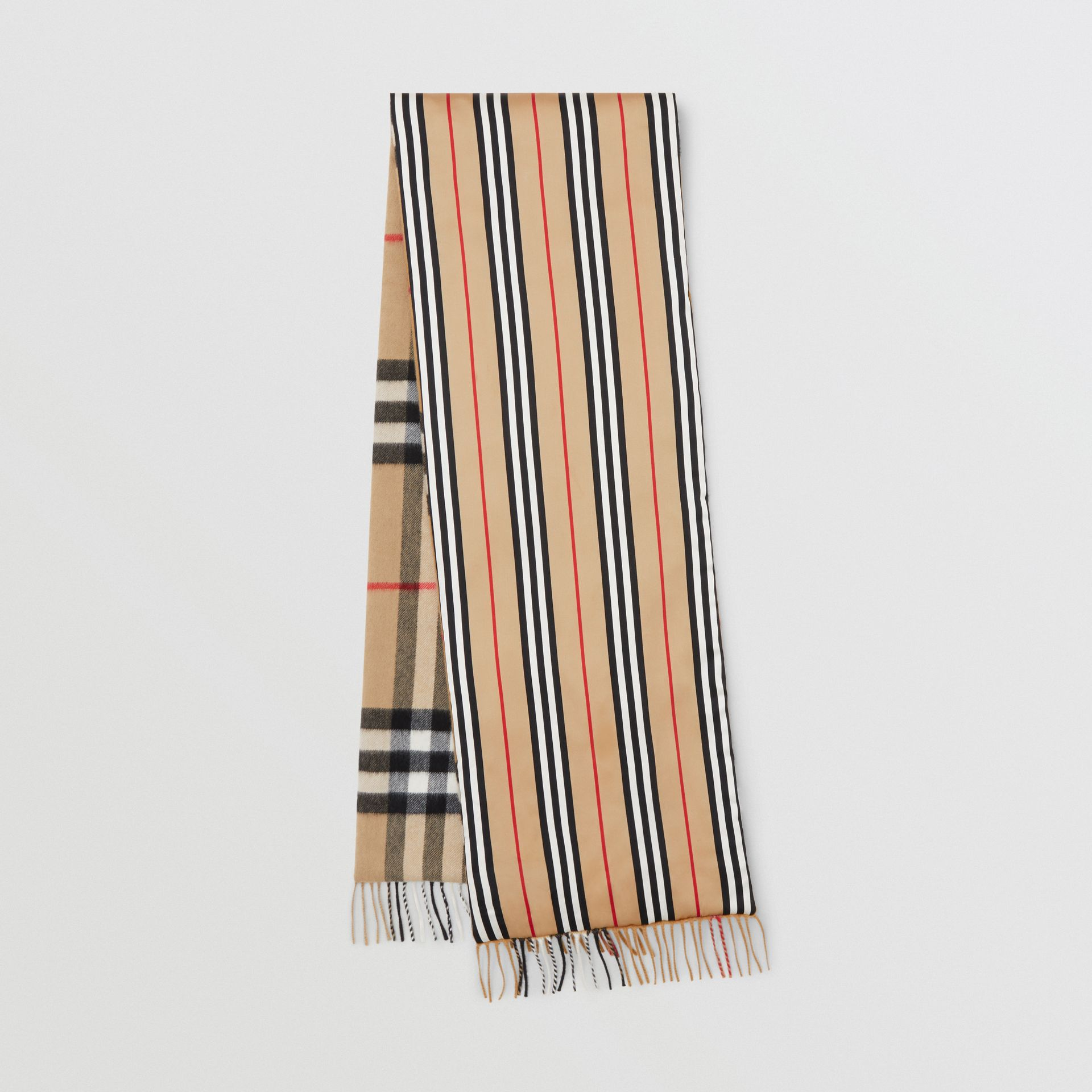 Check and Icon Stripe Cashmere Silk Puffer Scarf in Archive Beige | Burberry United Kingdom - gallery image 0