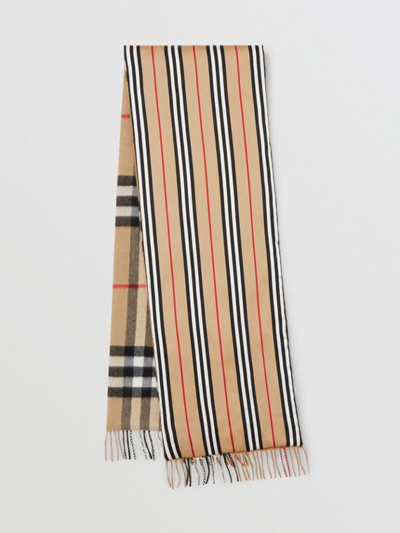 Check and Icon Stripe Cashmere Silk Puffer Scarf in Archive Beige