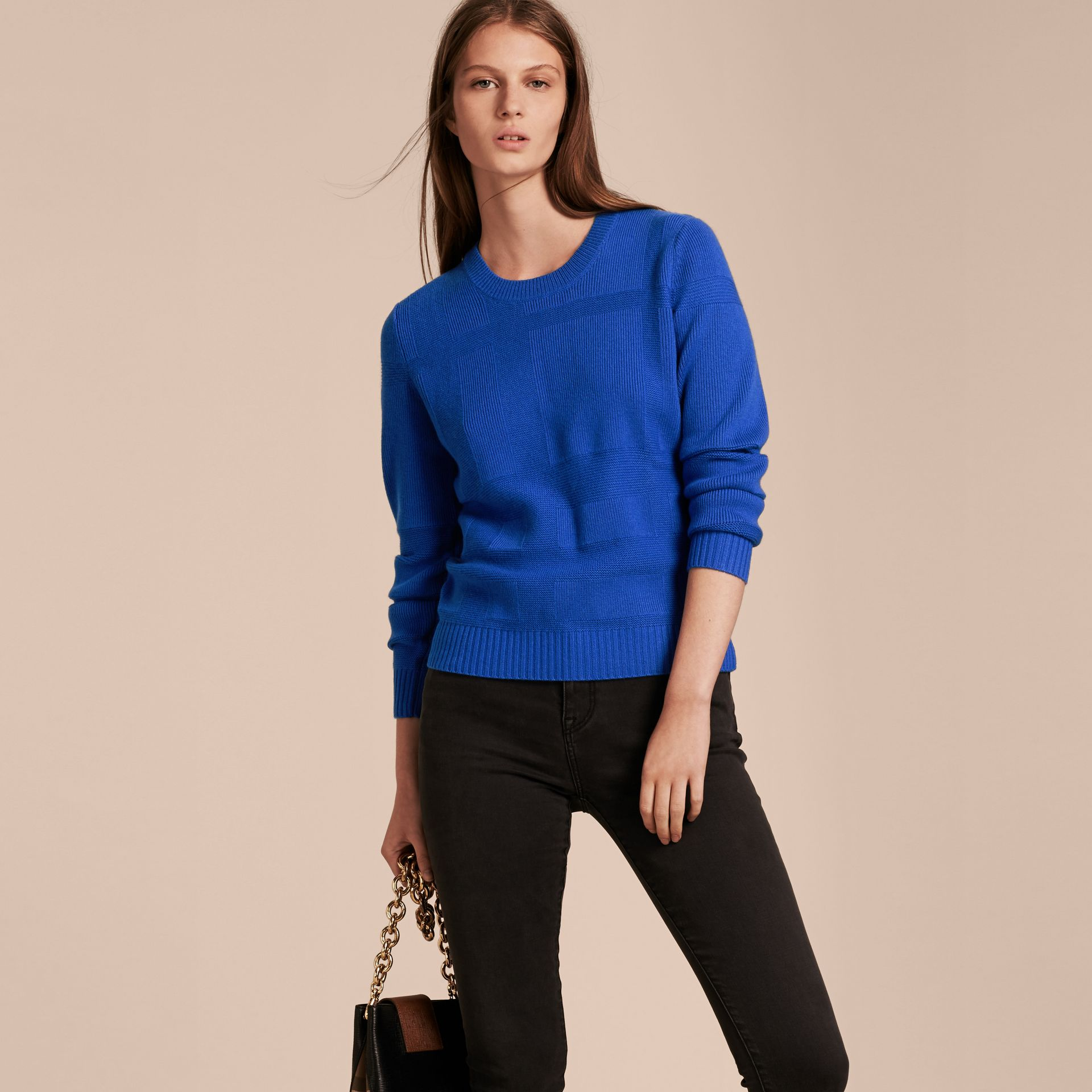 Check-knit Wool Cashmere Sweater in Sapphire Blue - gallery image 6