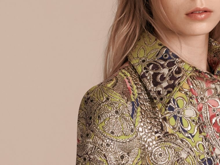 Green oxide Metallic Floral Jacquard Shirt Dress - cell image 4