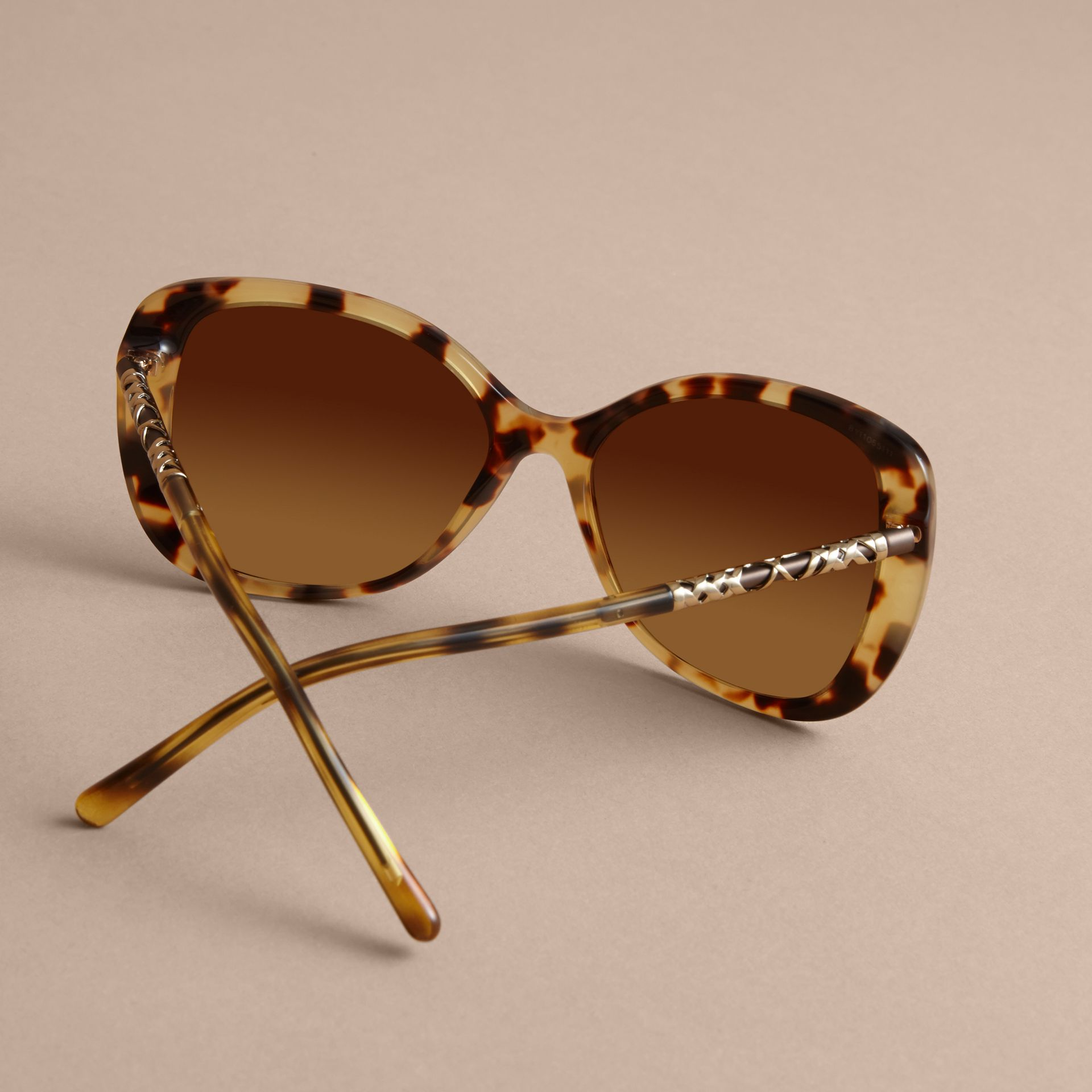 Check Detail Butterfly Frame Sunglasses Umber Yellow - gallery image 4