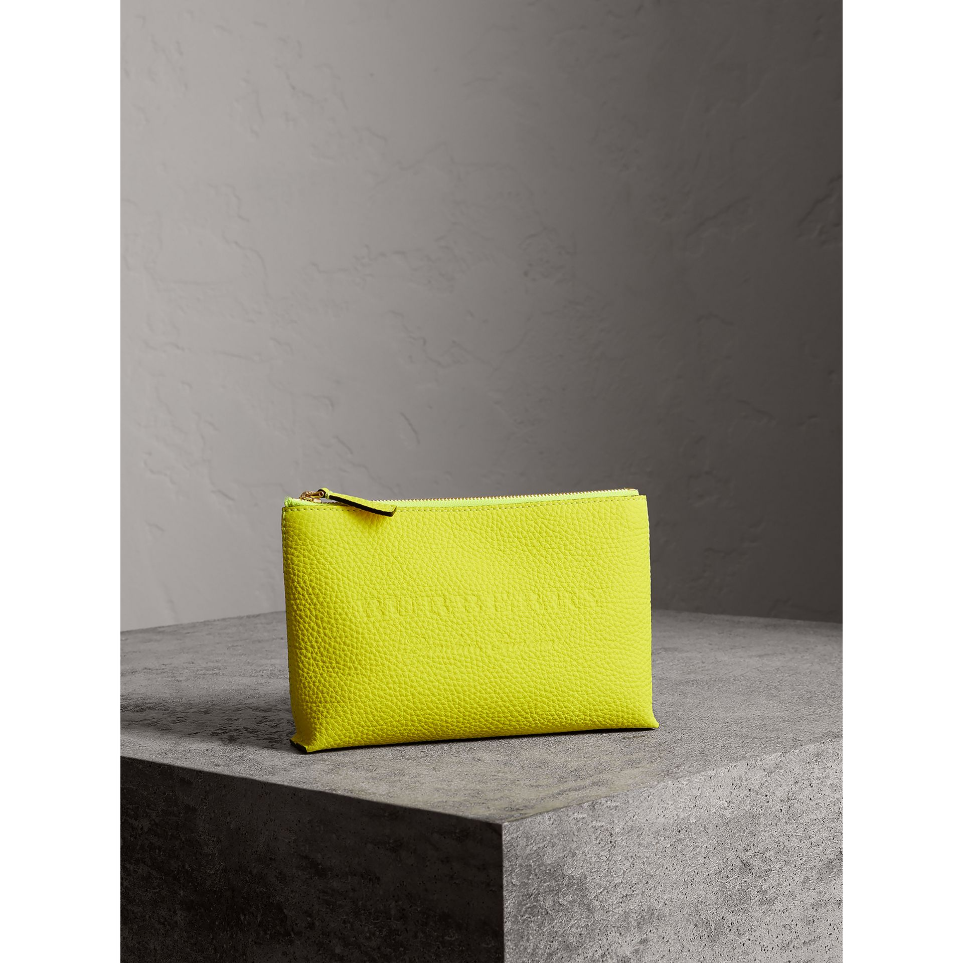Medium Embossed Leather Zip Pouch in Bright Yellow | Burberry - gallery image 4