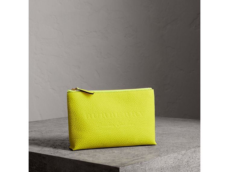 Medium Embossed Leather Zip Pouch in Bright Yellow | Burberry - cell image 4