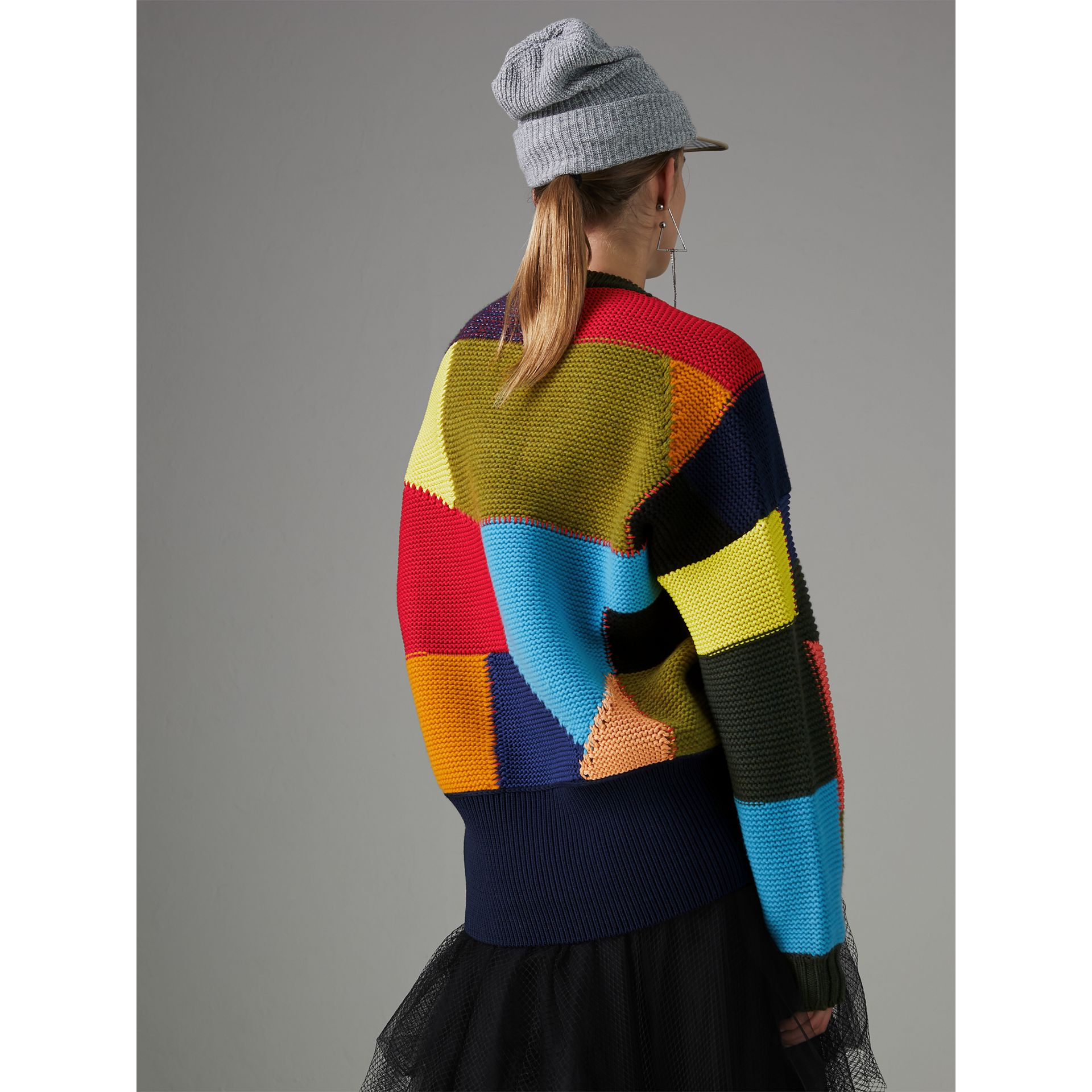 Patchwork Wool Blend Sweater in Multicolour - Women | Burberry Canada - gallery image 2