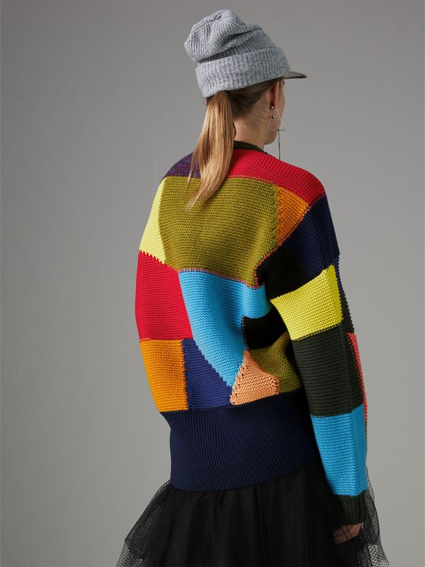 Patchwork Wool Blend Sweater in Multicolour - Women | Burberry Singapore - cell image 2
