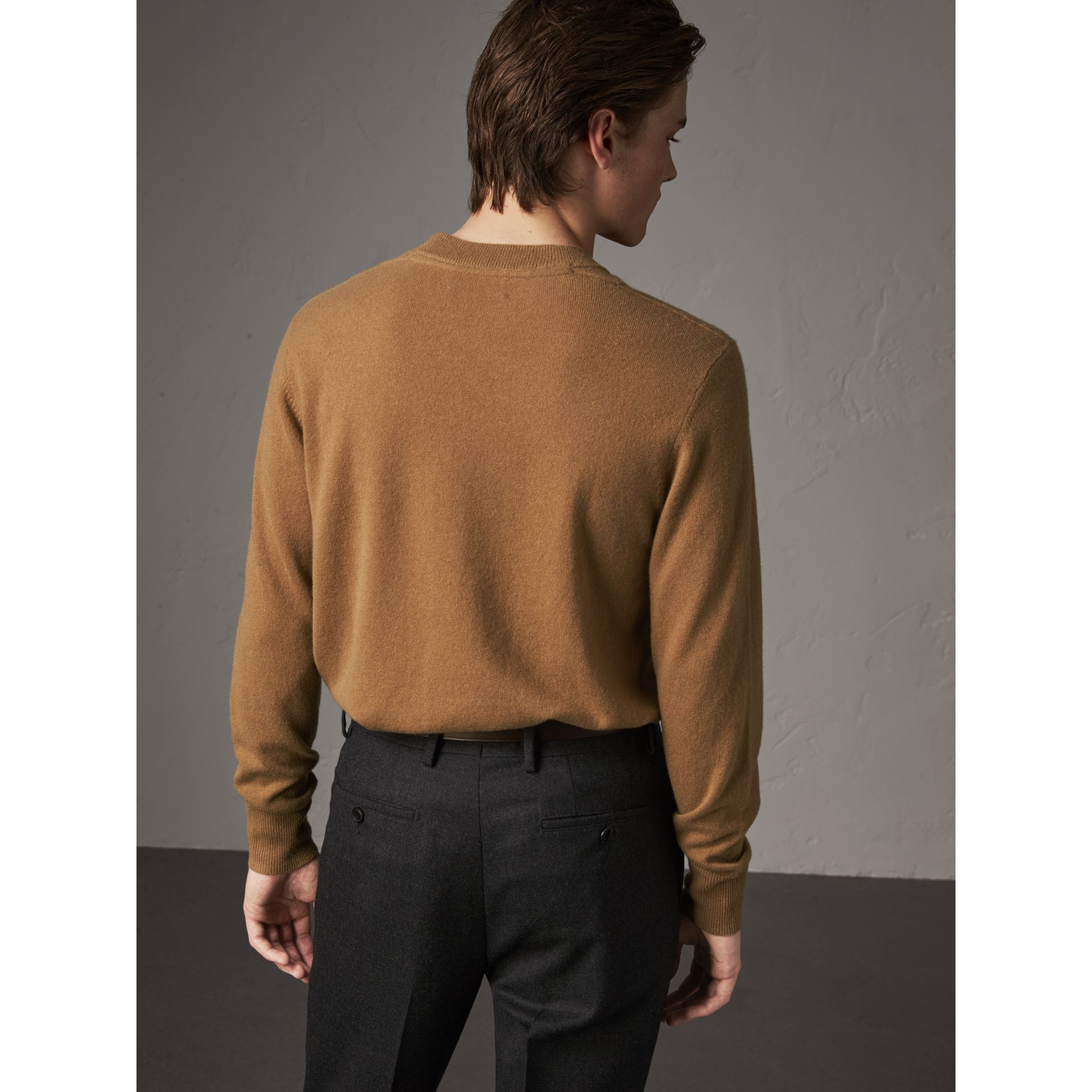 Cashmere V-neck Sweater in Camel - Men | Burberry Hong Kong - gallery image 2