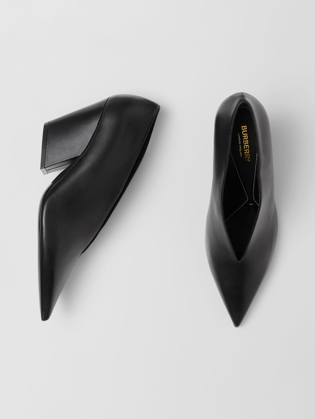 Leather Point-toe Pumps in Black