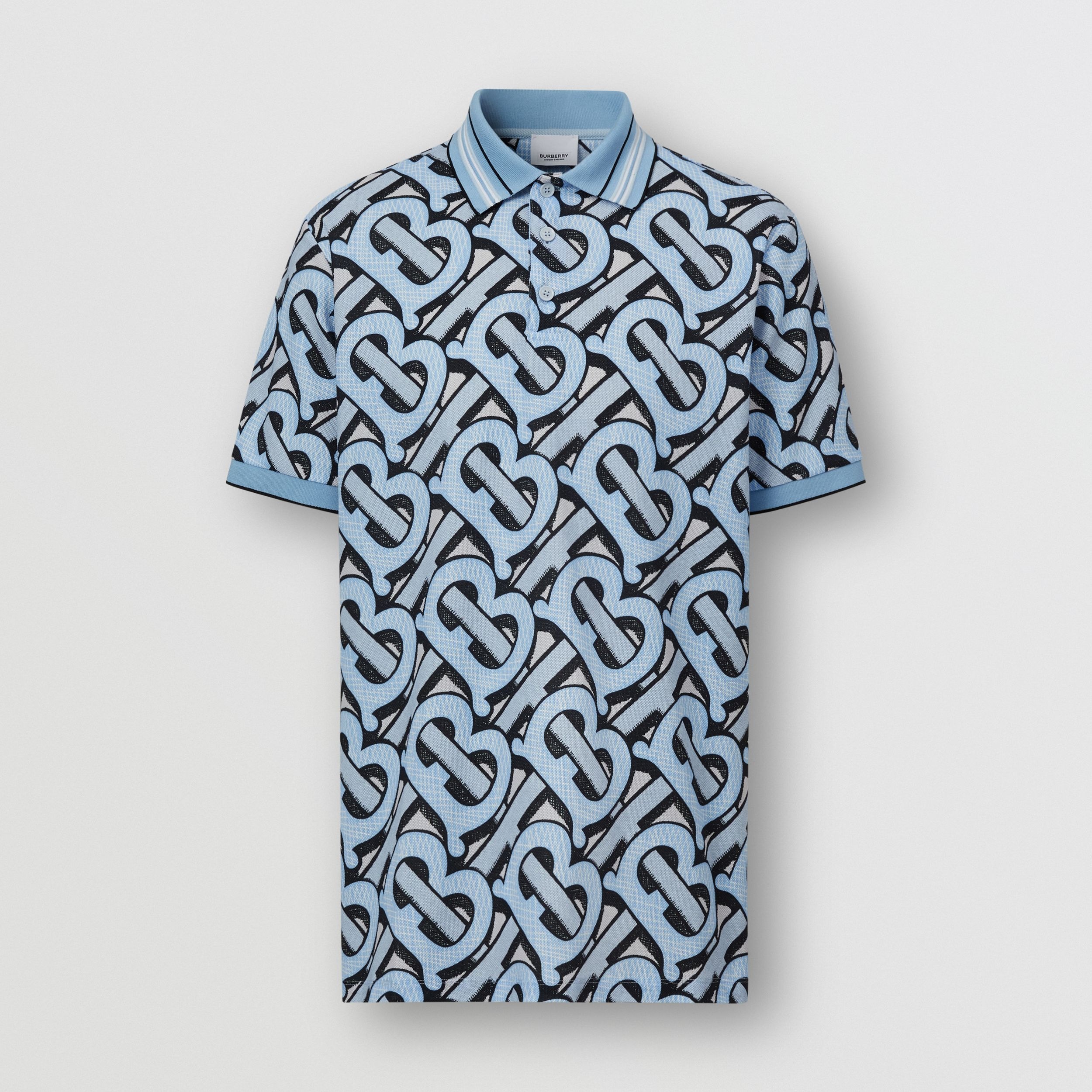 Monogram Print Cotton Piqué Polo Shirt – Unisex in Pale Azure | Burberry - 1