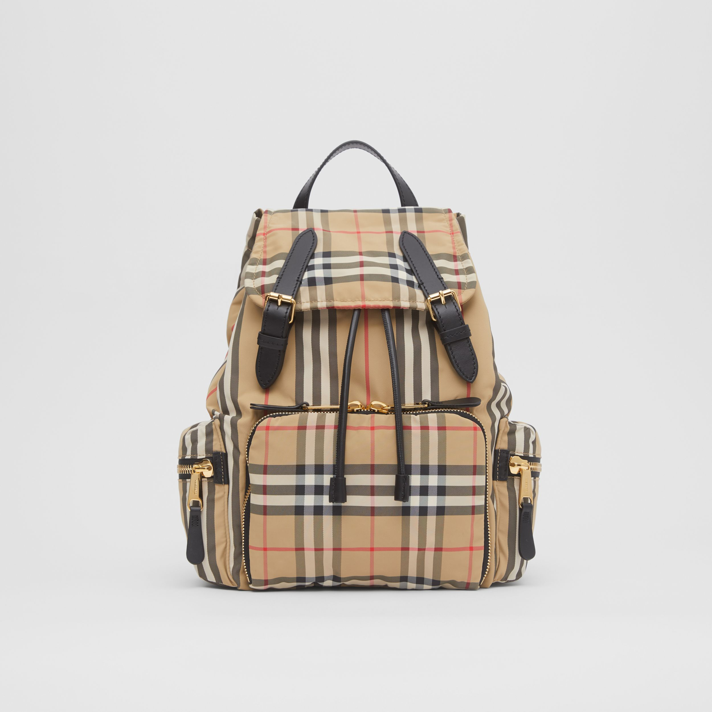 The Medium Rucksack in Vintage Check ECONYL® in Archive Beige - Women | Burberry - 1