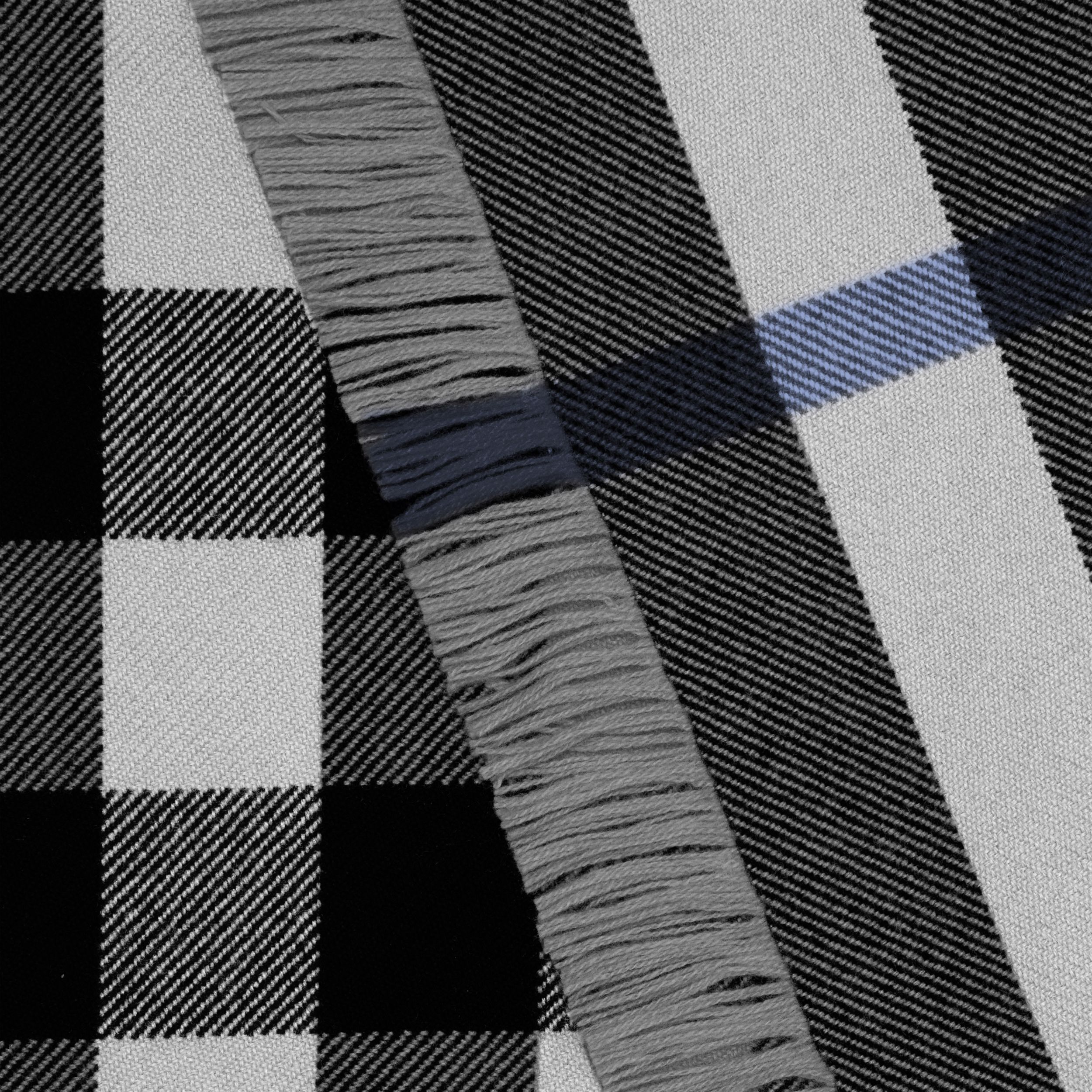 Fringed Check Wool Scarf in Mid Grey | Burberry - 2