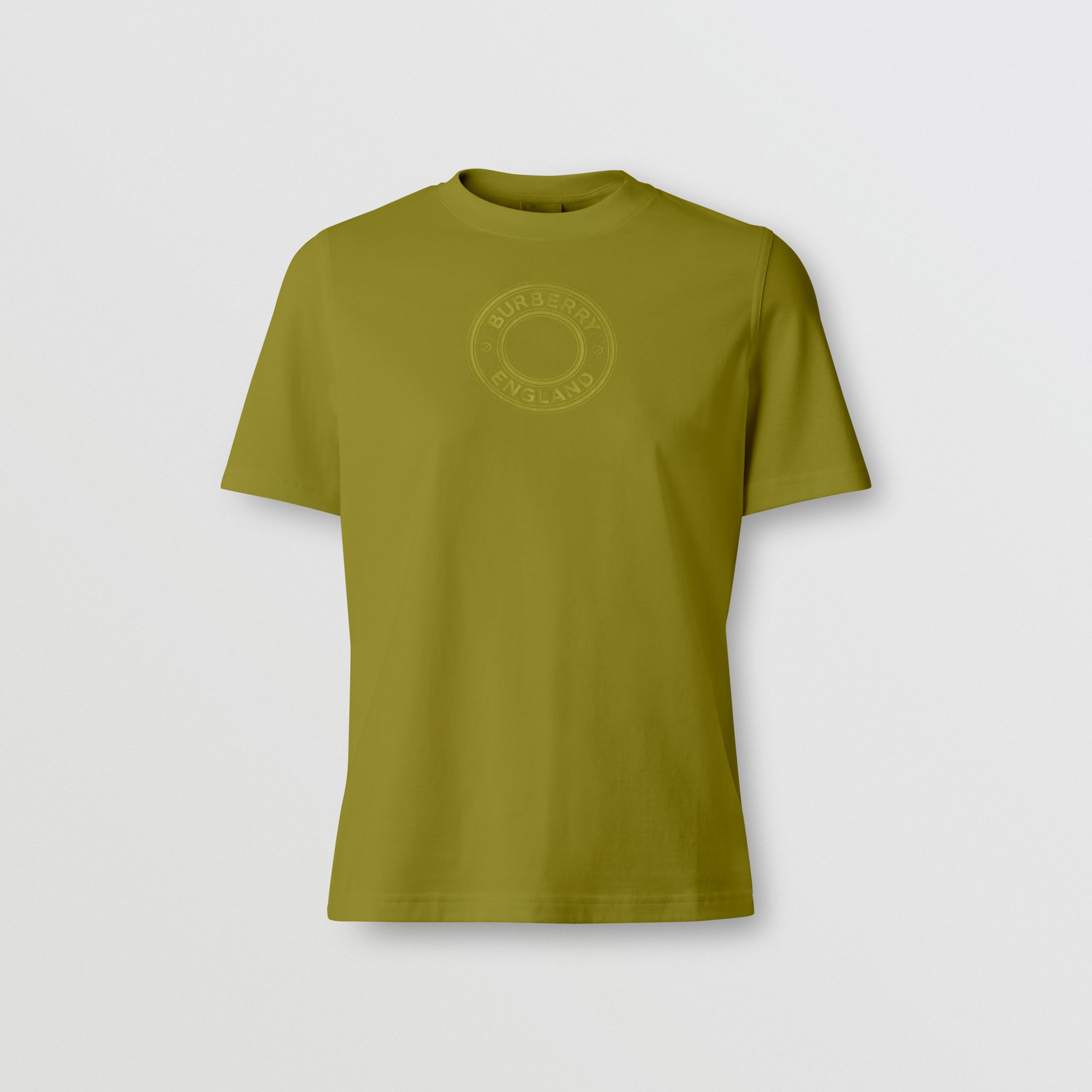 Logo Graphic Cotton T-shirt in Juniper Green - Women | Burberry - 4