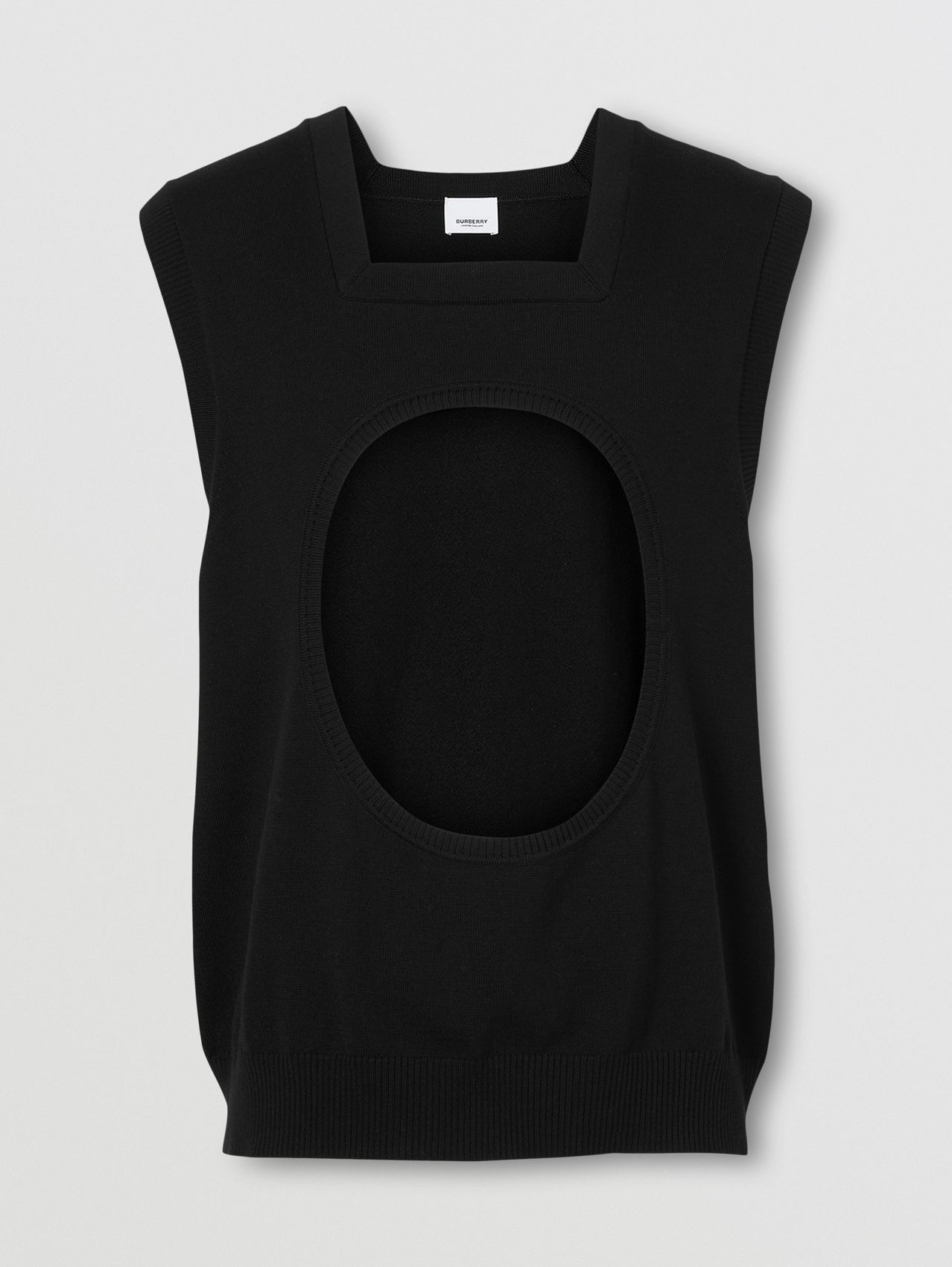 Cut-out Detail Wool Square-neck Vest in Black