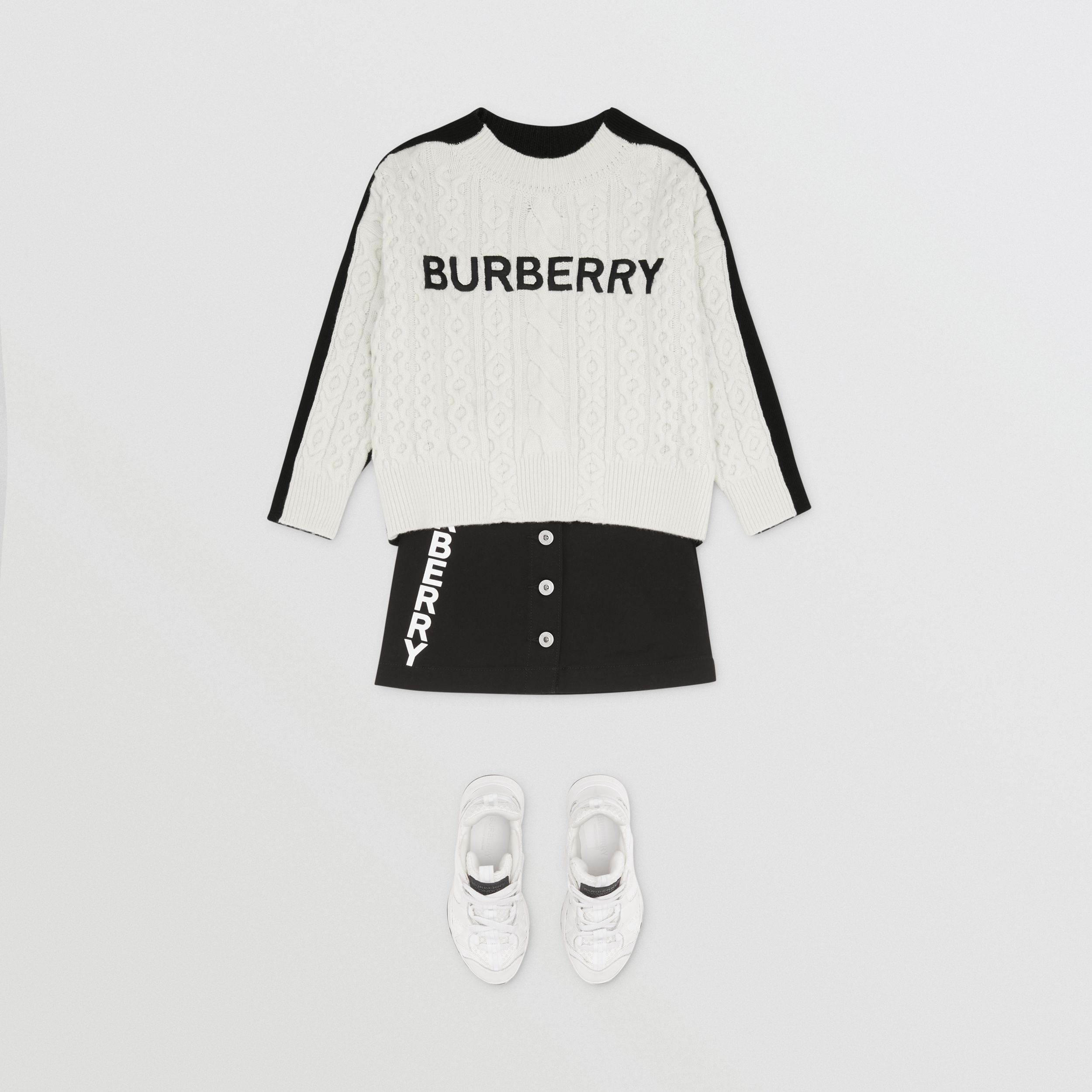Embroidered Logo Cable Knit Wool Blend Sweater in White/black | Burberry - 4