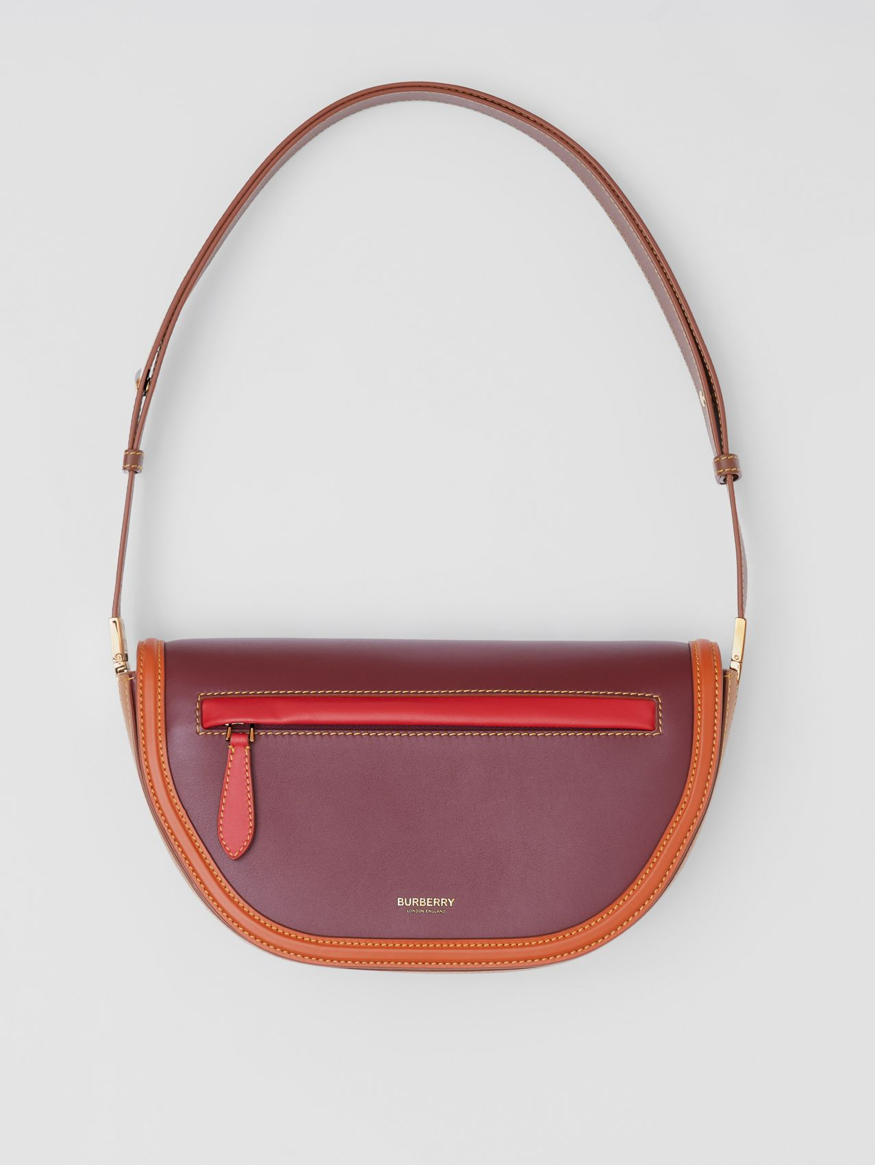 Small Colour Block Leather Olympia Bag in Garnet