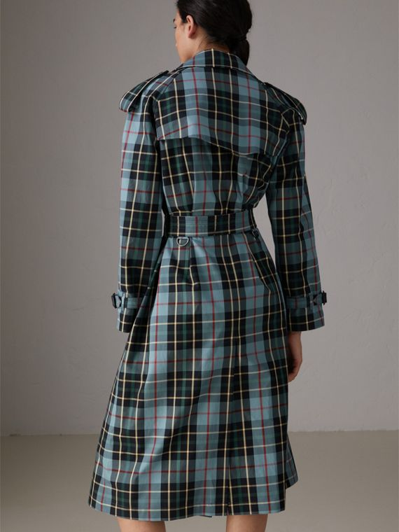 Tartan Cotton Gabardine Trench Coat in Cyan Blue - Women | Burberry - cell image 2