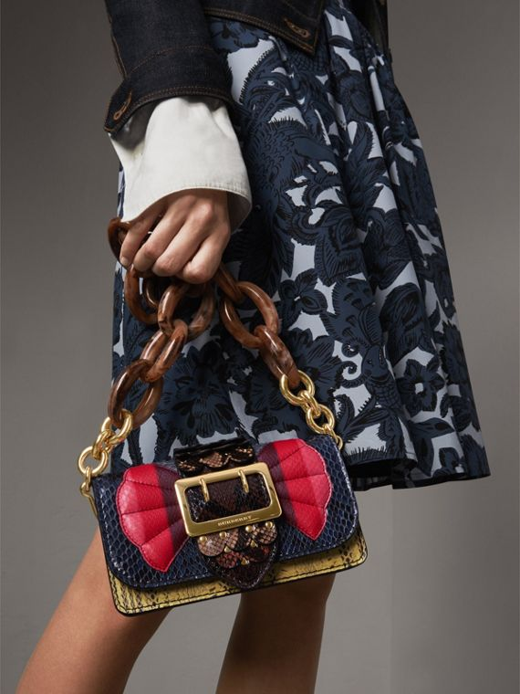 The Small Buckle Bag in Scallop Trim Snakeskin in Yellow - Women | Burberry Australia - cell image 3