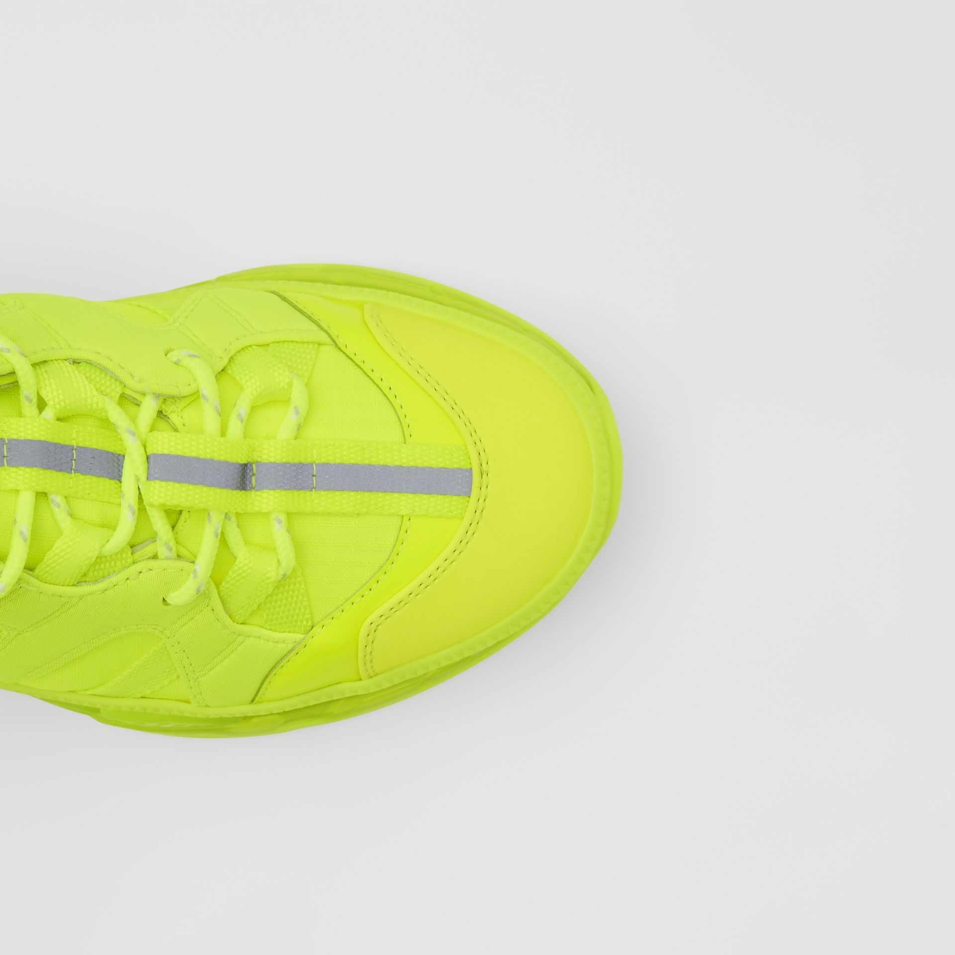 Nylon and Cotton Union Sneakers in Fluorescent Yellow - Women | Burberry United Kingdom - gallery image 1