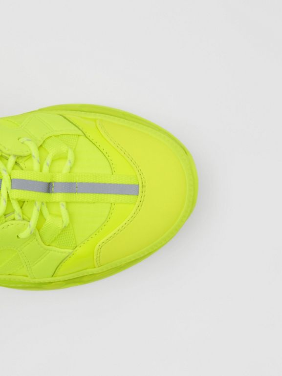 Nylon and Cotton Union Sneakers in Fluorescent Yellow - Women | Burberry - cell image 1