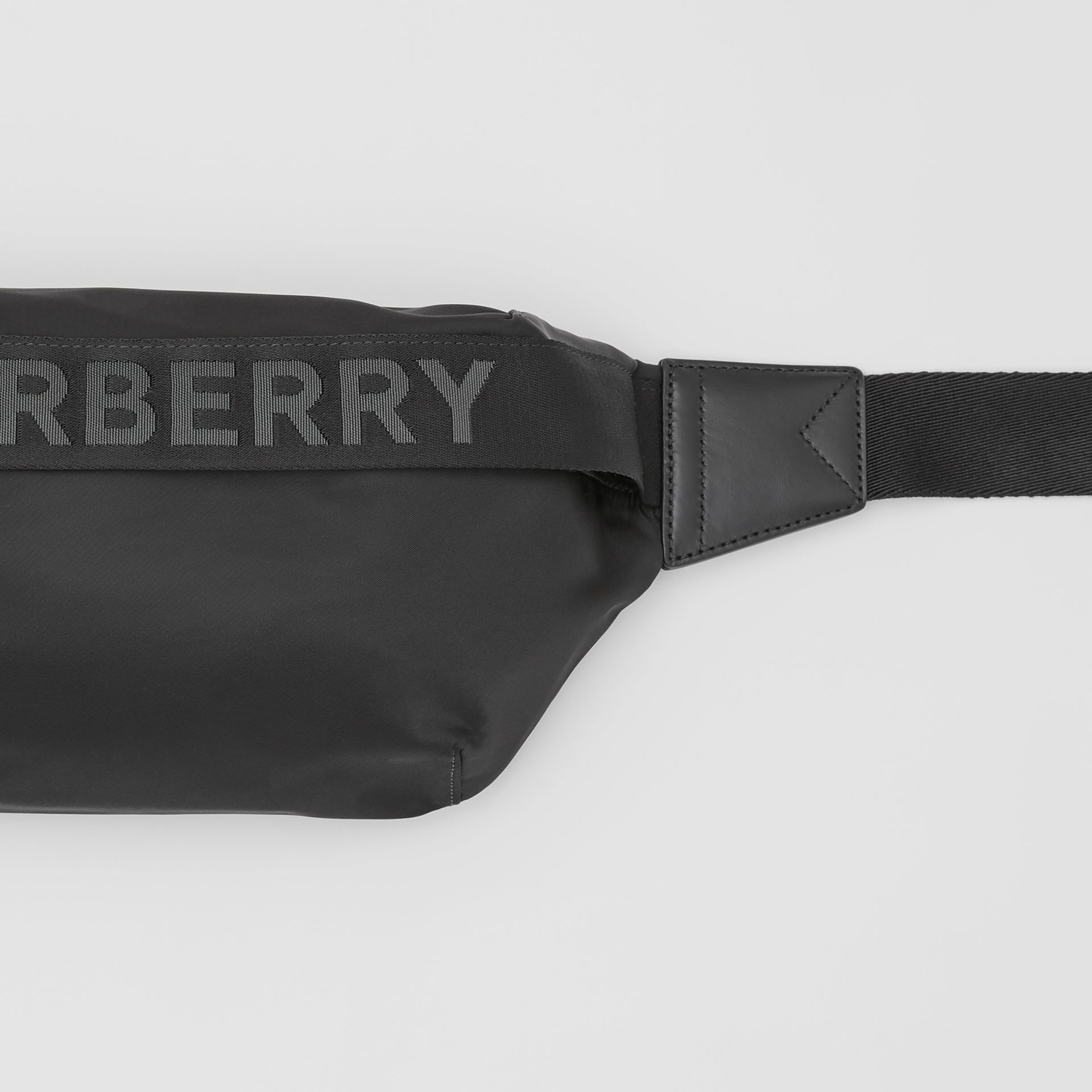Logo Detail ECONYL® Sonny Bum Bag in Black - Men | Burberry - gallery image 1