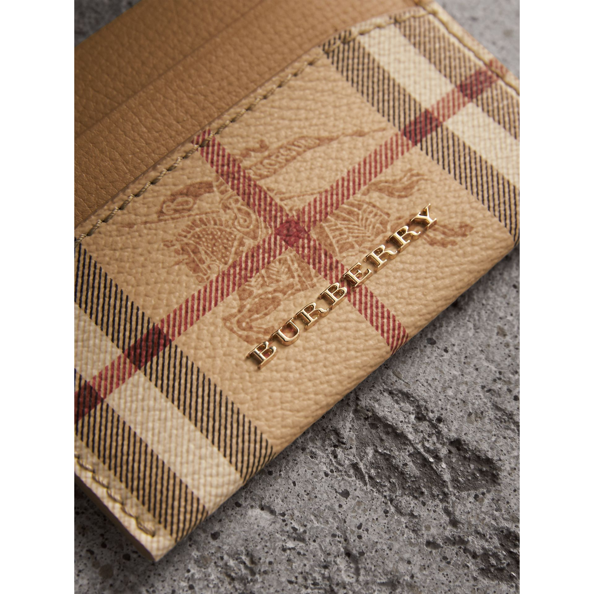 Haymarket Check and Leather Card Case in Mid Camel - Women | Burberry Singapore - gallery image 1