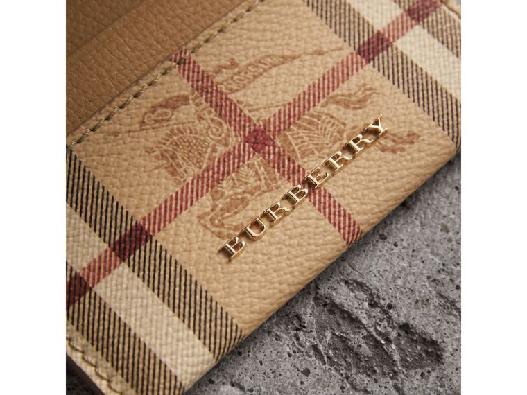 Haymarket Check and Leather Card Case in Mid Camel - Women | Burberry - cell image 1