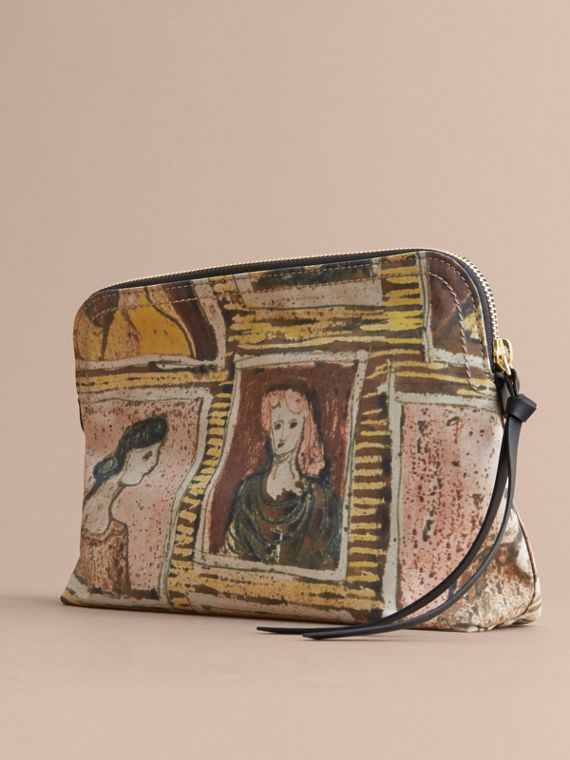 Large Zip-top Framed Heads Print Pouch in Umber Brown - Women | Burberry - cell image 3