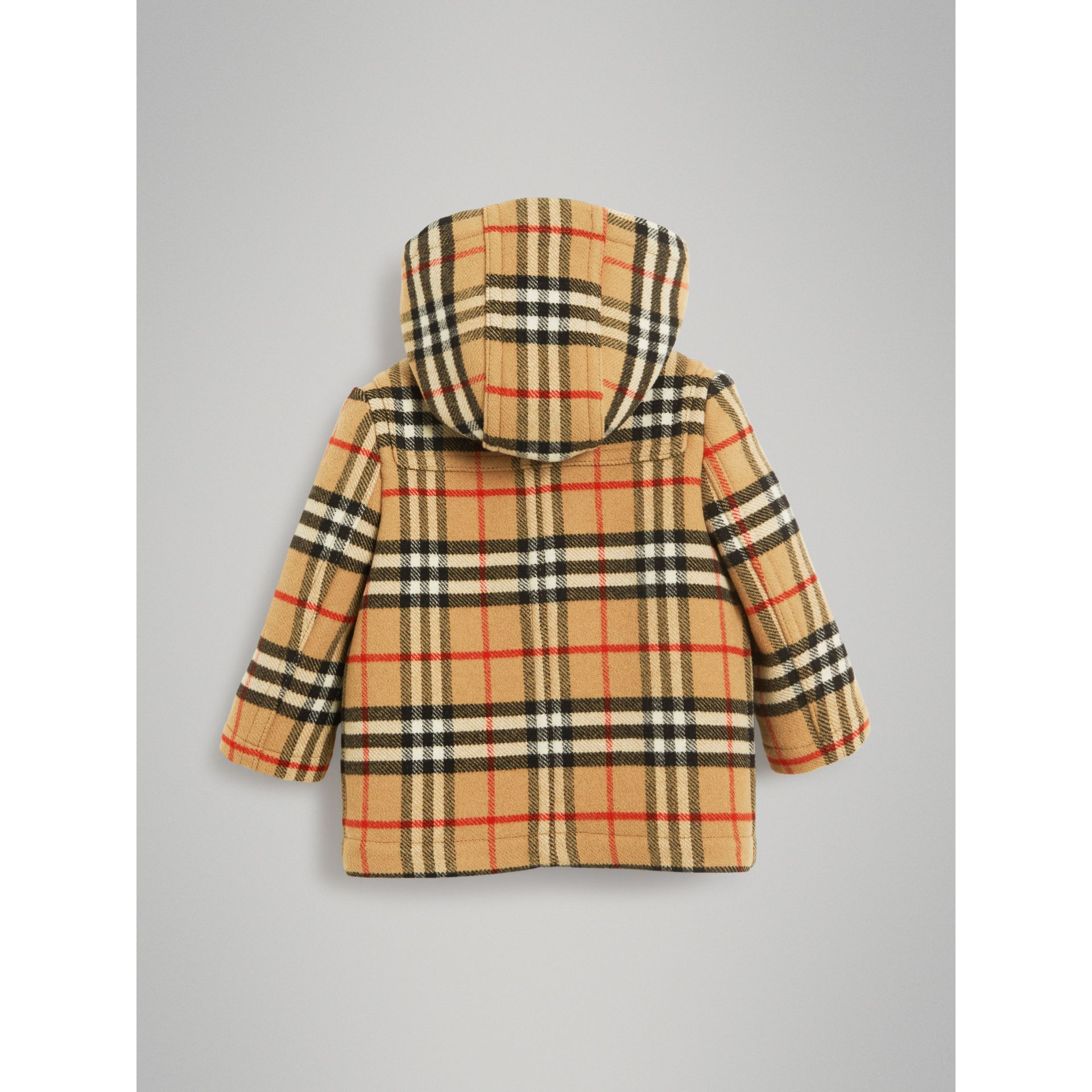 Vintage Check Wool Duffle Coat in Black | Burberry - gallery image 3