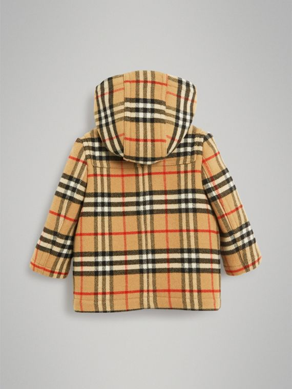 Vintage Check Wool Duffle Coat in Black | Burberry - cell image 3