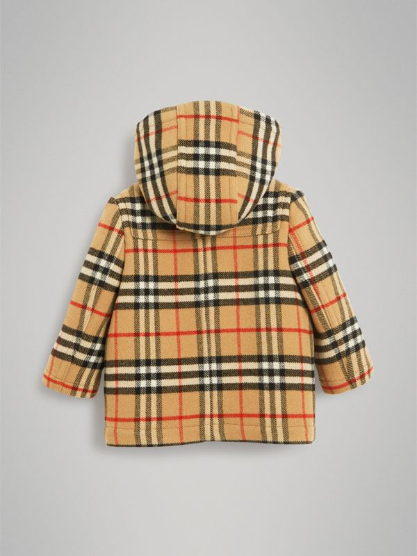 Vintage Check Wool Duffle Coat in Black - Children | Burberry United Kingdom - cell image 3