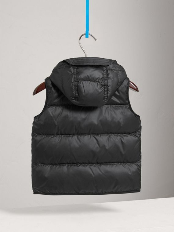 Down-filled Hooded Gilet in Black - Boy | Burberry - cell image 3