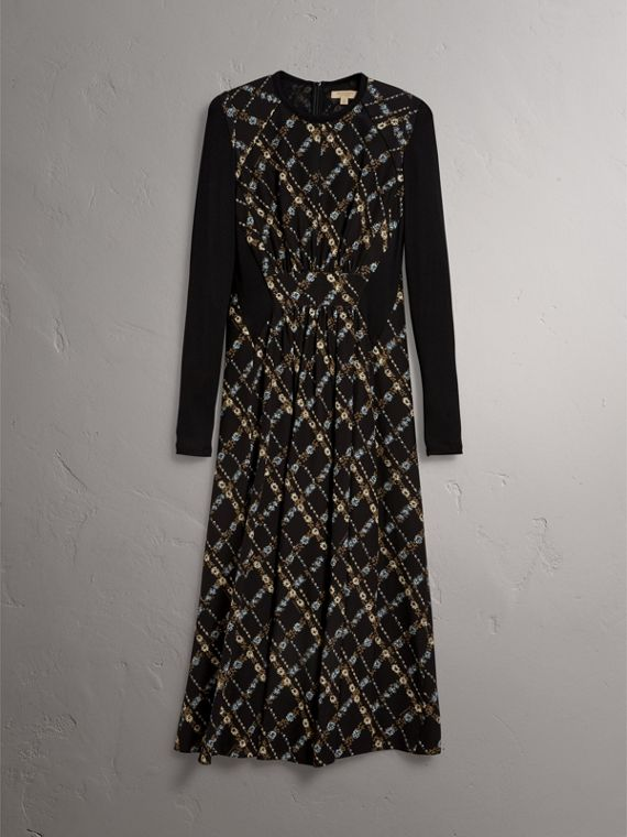 Long-sleeve Lattice Floral Print Silk Gathered Dress in Black - Women | Burberry - cell image 3