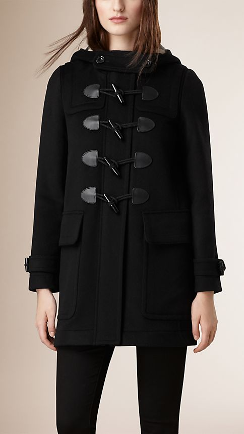 Black Straight Fit Duffle Coat Black - Image 2