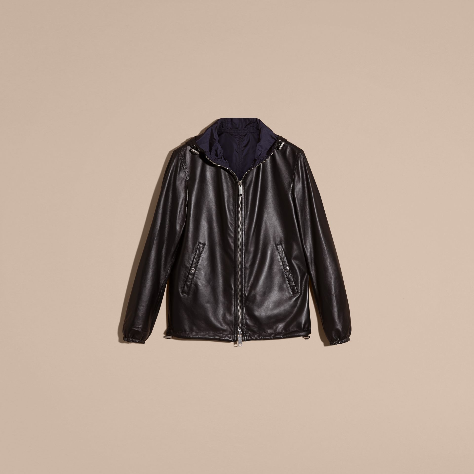 Black Reversible Lambskin Jacket with Hood - gallery image 4
