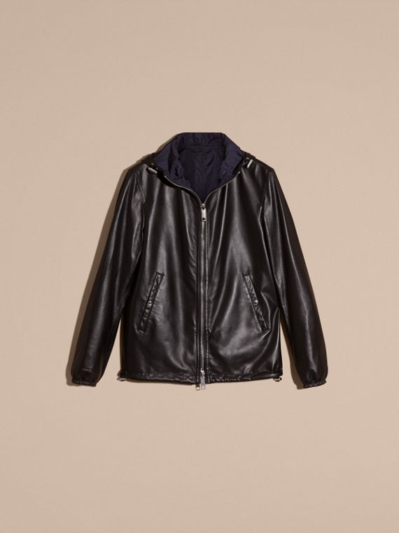 Black Reversible Lambskin Jacket with Hood - cell image 3