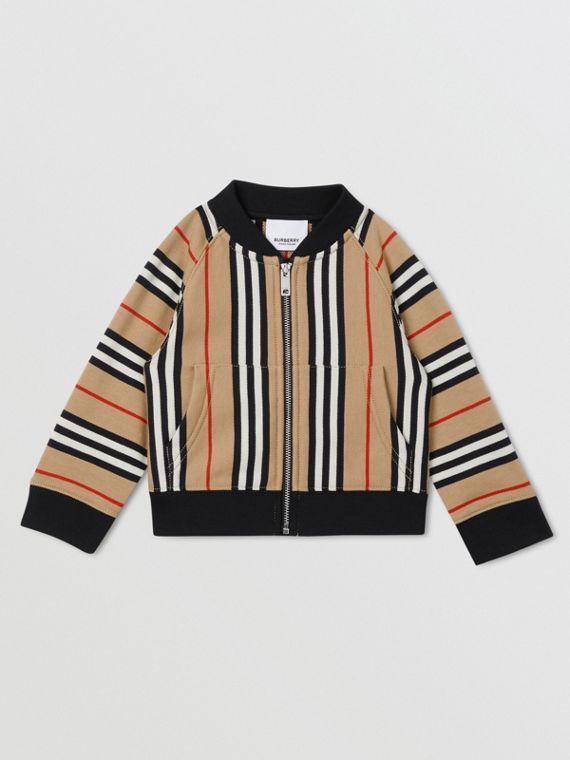 Icon Stripe Cotton Track Top in Archive Beige