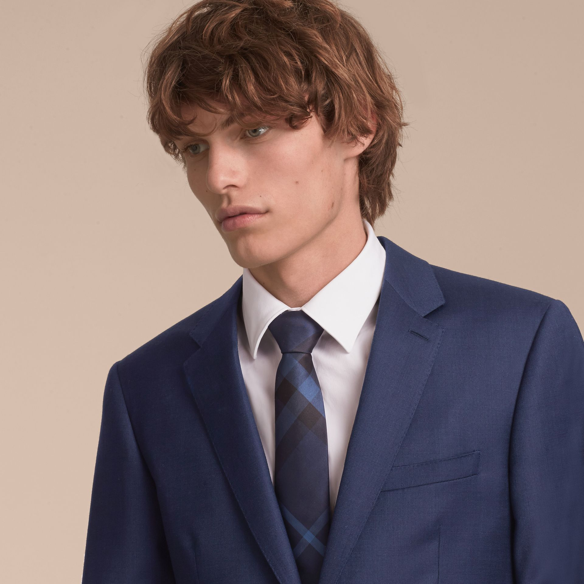 Modern Cut Check Silk Tie in Navy - Men | Burberry Australia - gallery image 3