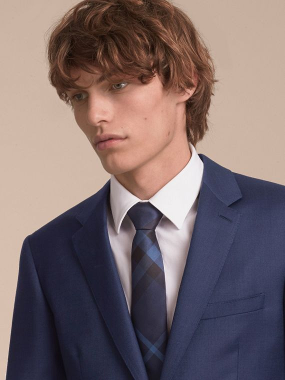 Modern Cut Check Silk Tie in Navy - Men | Burberry Australia - cell image 2