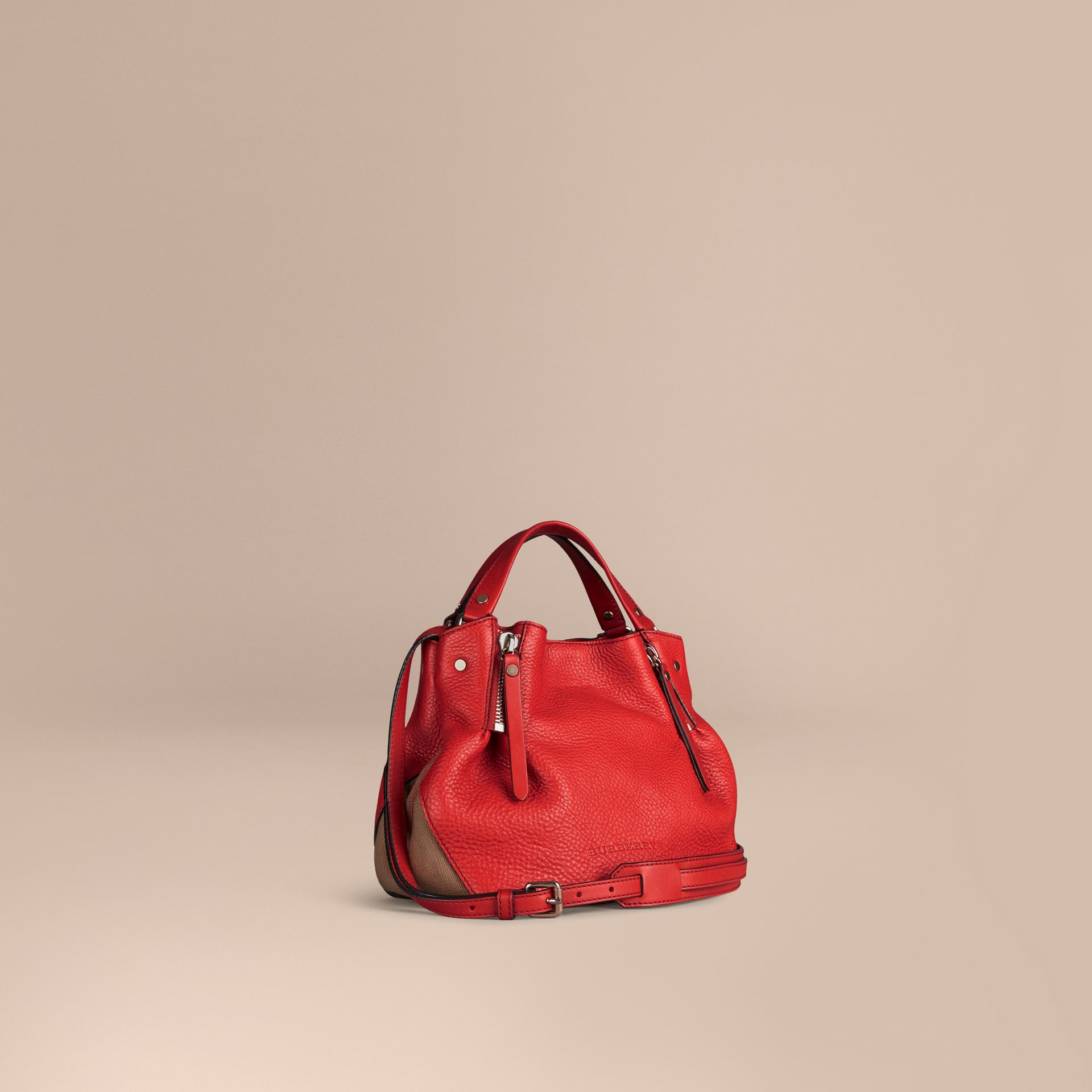 Cadmium red Small Check Detail Leather Tote Bag Cadmium Red - gallery image 1