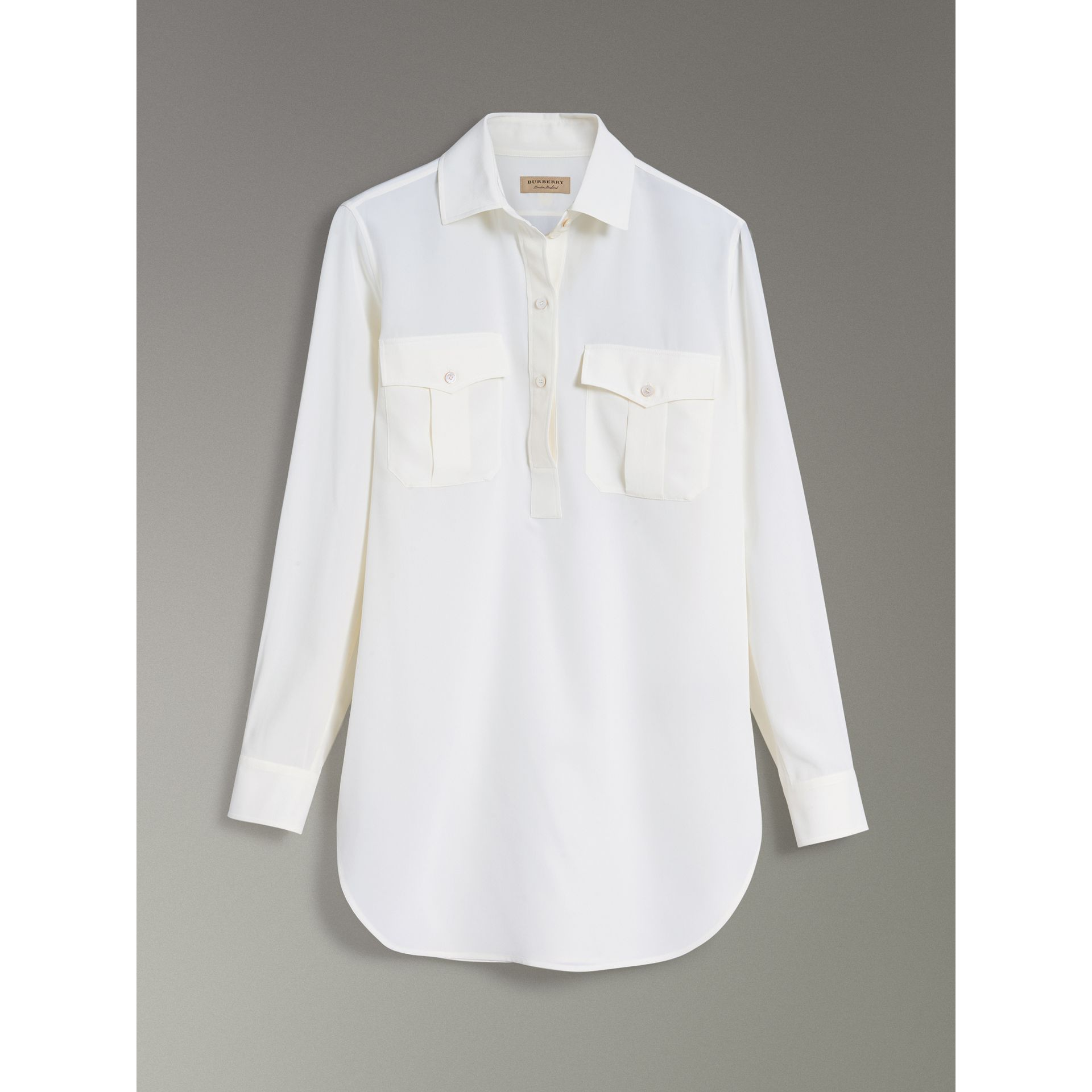 Silk Tunic Shirt in Natural White - Women | Burberry - gallery image 3