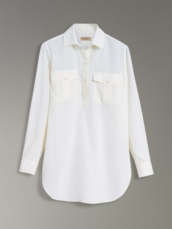 Silk Tunic Shirt in Natural White - Women | Burberry Canada - cell image 3