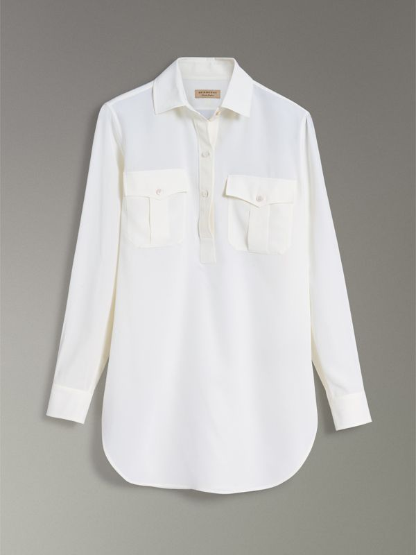 Silk Tunic Shirt in Natural White - Women | Burberry - cell image 3