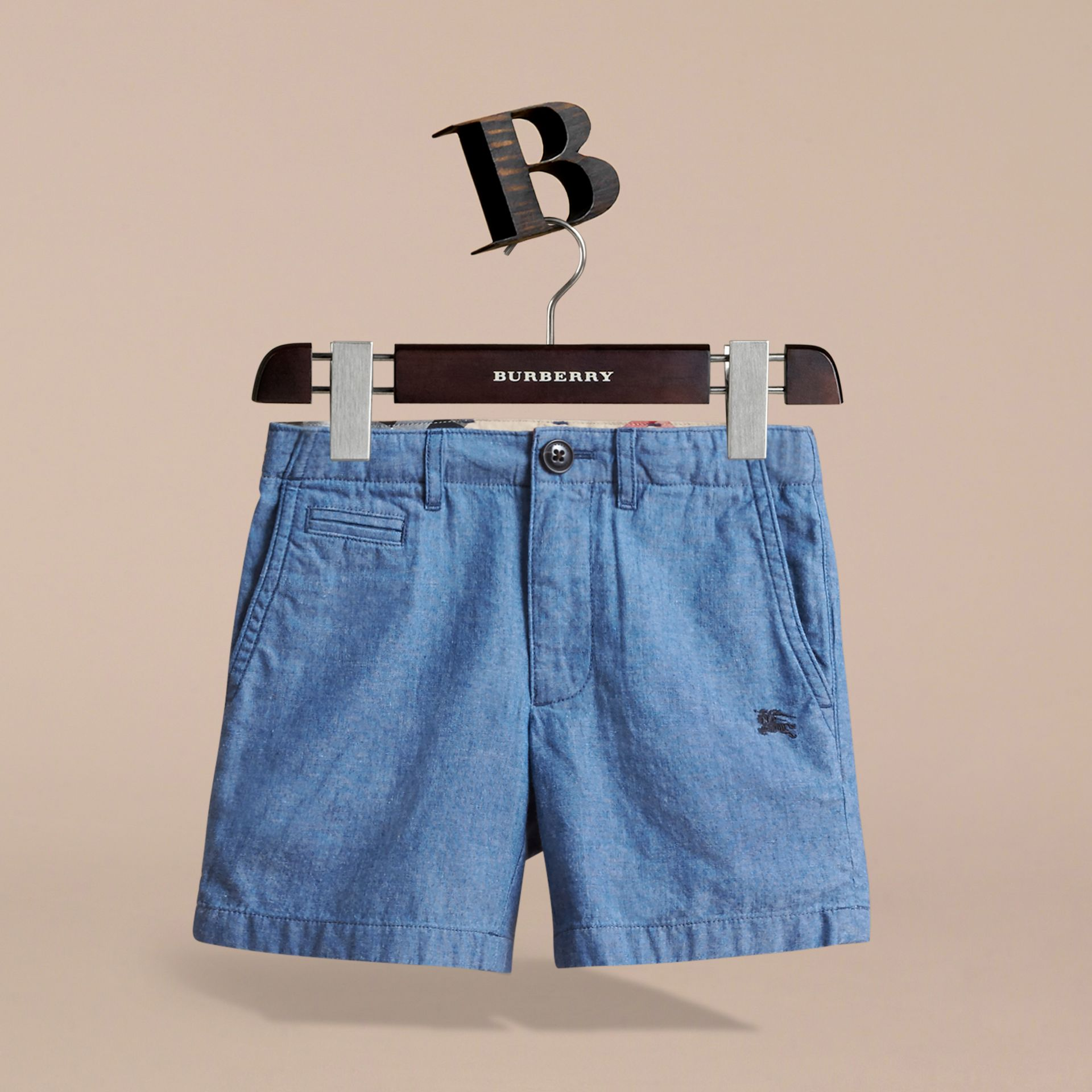 Lightweight Cotton Chambray Shorts in Stone Blue | Burberry - gallery image 3