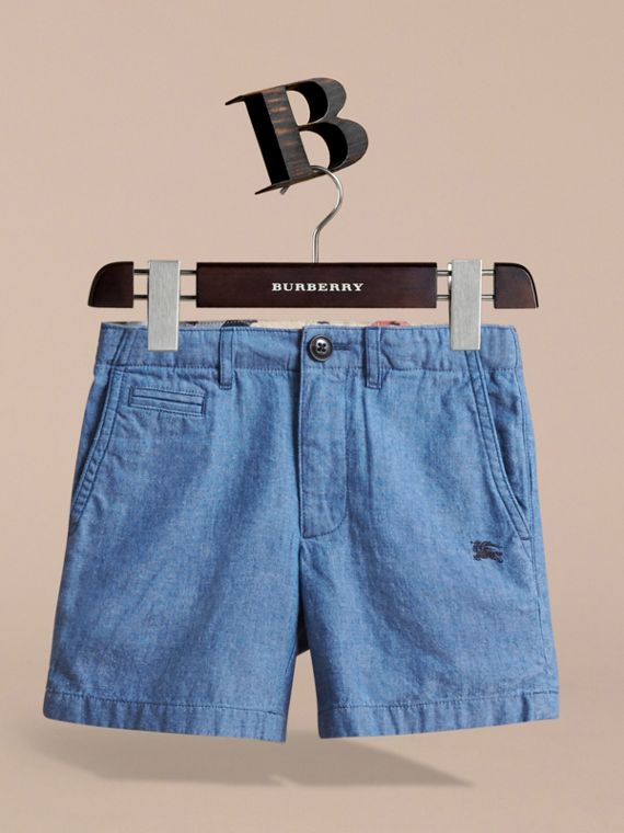 Lightweight Cotton Chambray Shorts in Stone Blue | Burberry - cell image 2