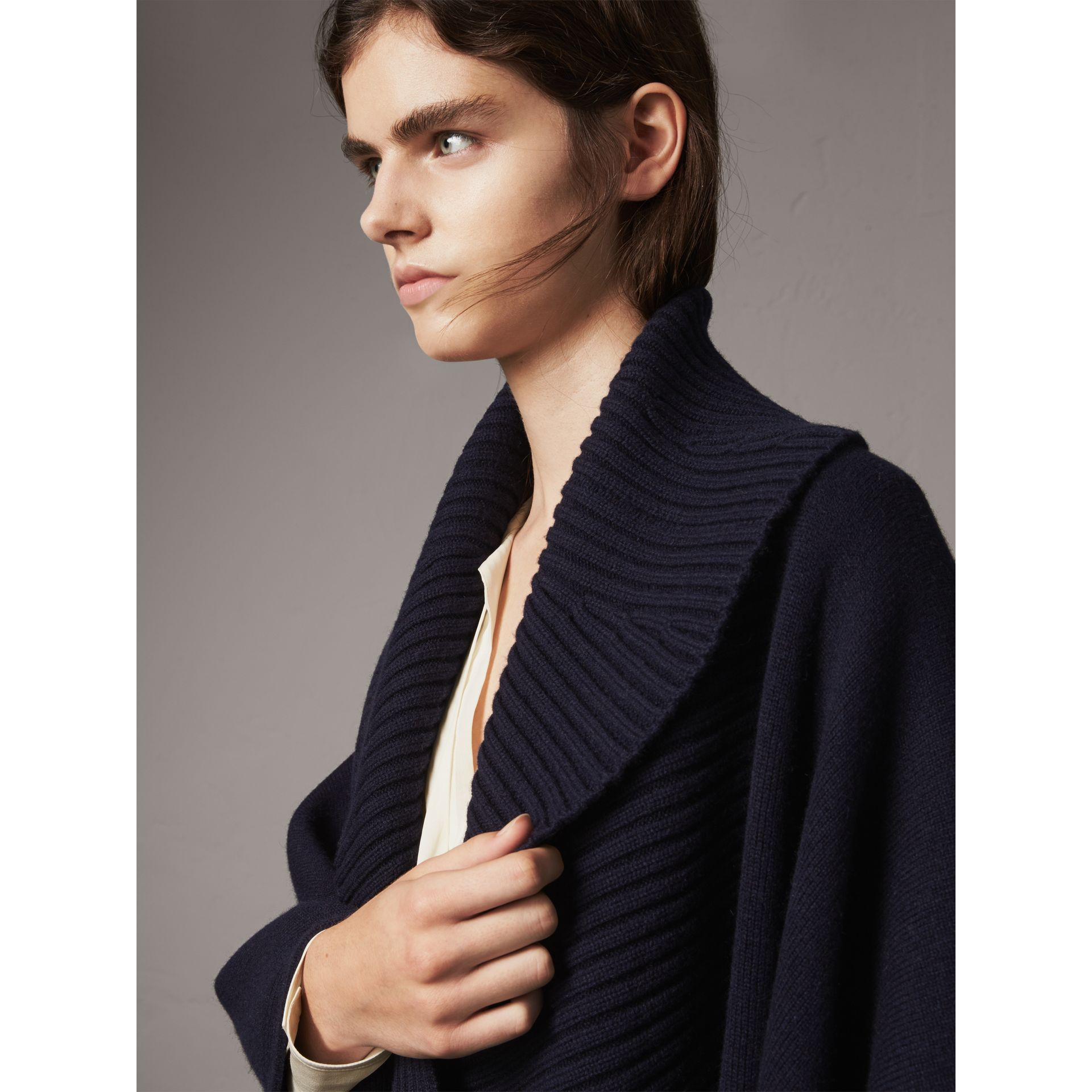 Shawl Collar Wool Cashmere Poncho in Indigo - Women | Burberry - gallery image 5
