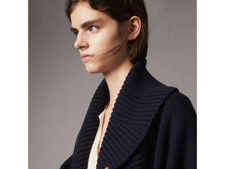 Shawl Collar Wool Cashmere Poncho in Indigo - Women | Burberry - cell image 4