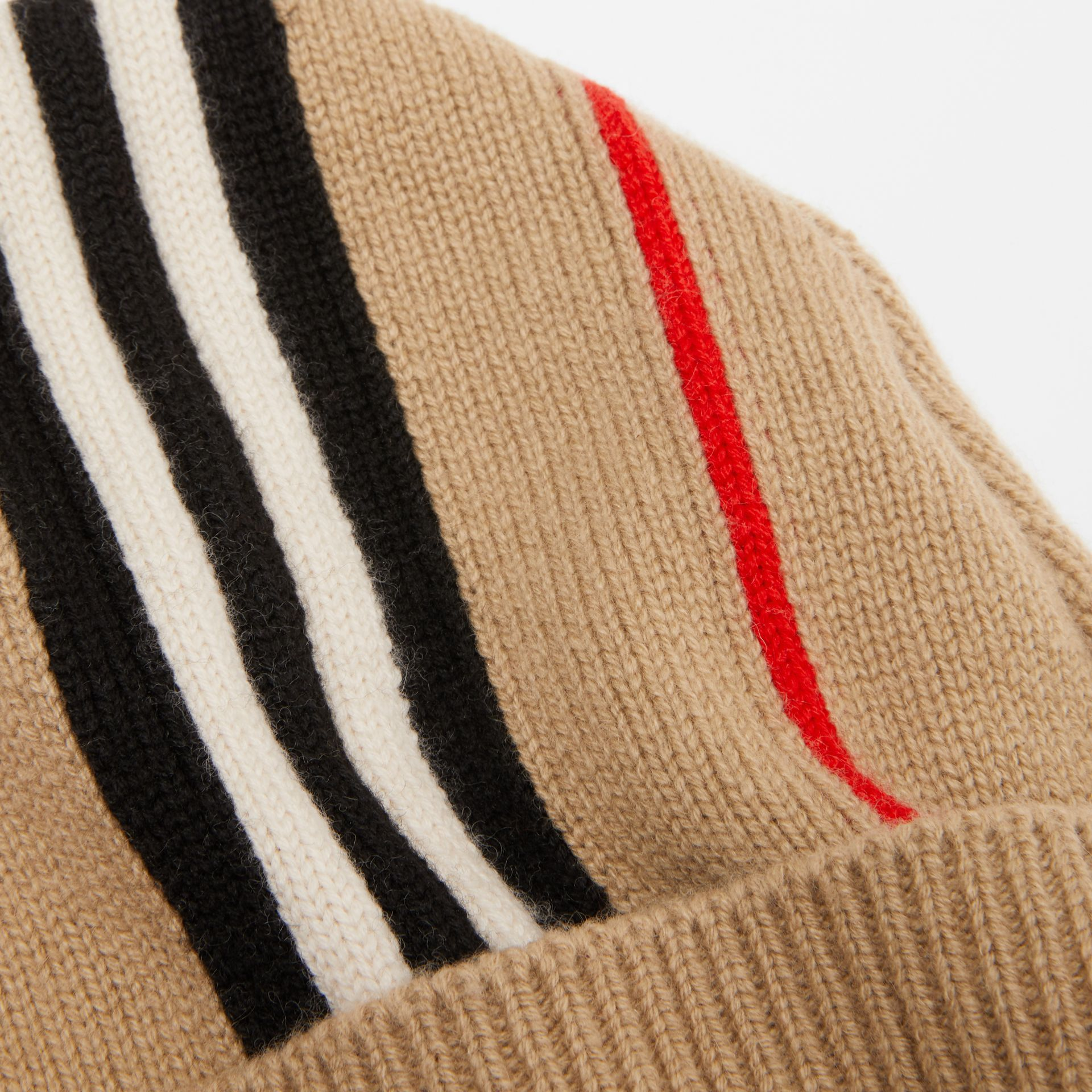 Icon Stripe Cashmere Wool Beanie in Archive Beige - Children | Burberry United Kingdom - gallery image 1